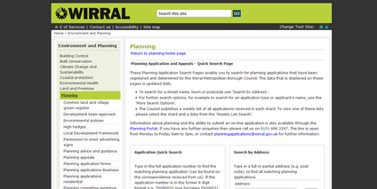 Wirral planning search